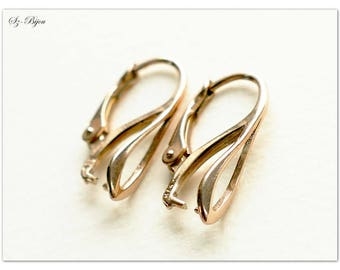 Rose Gold plated earrings, Rose Gold plated ear hooks, ear hooks for Swarovski, Rose Gold plated earwires, Rose Gold plated leverbacks, 20mm