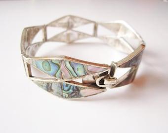 Vintage Sterling Silver Abalone Inlay Geometric Panel Bracelet