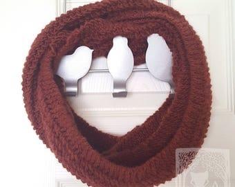 Russet Infinity Scarf, Wool Cowl, 100% Wool