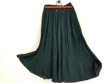 Forest green crepe cotton boho maxi skirt, elastic drawstring waist