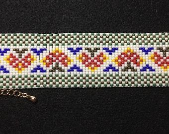 Autumn cuff loom bracelet