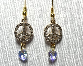 Gold rhinestone peace earrings with Swarovski crystal charm