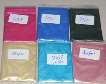Lot x6 Colors Mica Powder Pigment Sample Set for Nail , Soap