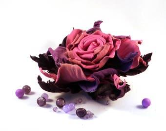 pink rose, leather rose, poppy brooch, leather brooch, leather rose pin, pink flower, lilac brooch, flowers women brooch, pink brooch