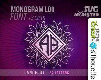 LANCELOT MONOGRAM FONT svg • Cut Files for Electronic Cutter Cricut Design Space cameo Silhouette 2 two letters Frame border 091