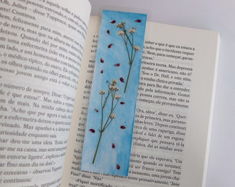 Pressed flowers bookmark (blue, pink and white)