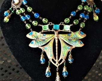 Egyptian Revival Art Nouveau Style Green and Blue Dragonfly Statement Swag necklace