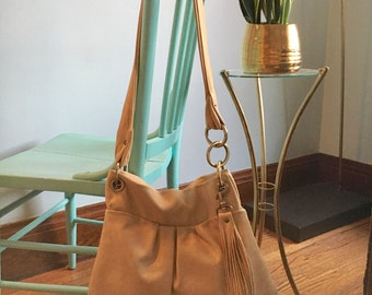 Cream leather tote