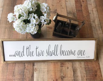 Ephesians 5:31 sign | and the two shall become one sign | Scripture sign | Wedding sign | framed wood sign | Religious sign | bible verse
