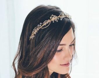 Gold Headband, Gold Hair Vine, Gold crystal Hair Vine, Bridal Headband, Gold hair vine, Gold tiara, Bride Hair Accessories