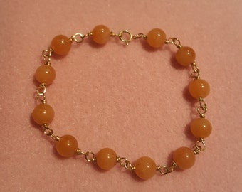 Orange Jade Gold filled Link Bracelet