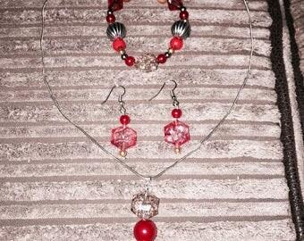 Red glass bead necklace, earrings and bracelet set tattynatties