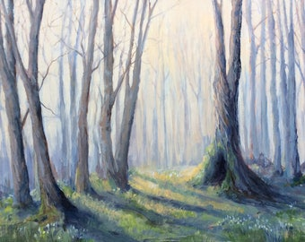 Original painting woods woodland trees forest nature