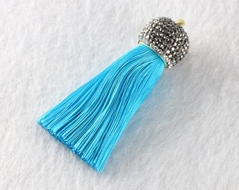 Tassels DIY Craft Supplies Blue  Jewelry tassels Chunky tassel Short Boho tassels Small tassels Fringe Trim Womens Gift