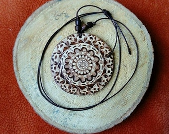 Wooden pendant - Woodburned  necklace - Handmade woodburned pendant - Mother's day gift - Gift for Her -Boho - Hippie