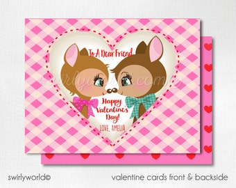 Retro Valentine Cards, Digital Printable Deers Valentine Cards, Digital Valentine Cards, Digital Valentine DIVAL109
