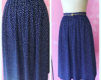 vintage navy and white polka dot skirt, 80's navy skirt, vintage skirt, pocket skirt, skirt with pockets, vintage polka dot skirt, vintage