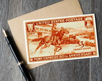 Pony Express, US Postage Stamp, Stamp Art Cards, Horse Cards, Horse birthday card, orange greeting card, US history cards, teacher gifts