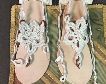 Hand made sandals 100% leather crochet design on top