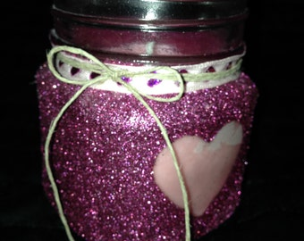 Pink glitter candle