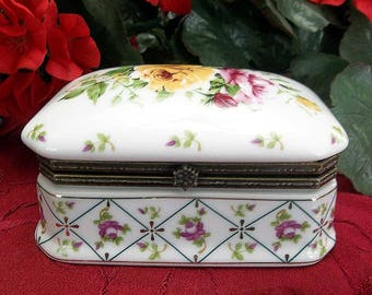Vintage Jewelry Box White Porcelain Hand Painted Roses Trinket Casket Ormolu Accent Snap Closure Cottage Chic  Bed Bath Vanity Accessory