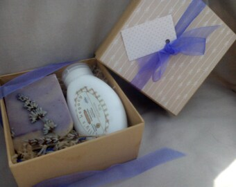 Lavender Gift Box, Intensive Lavender and Patchouli Essential Oil Hand Cream and Lavender Goats Milk Soap