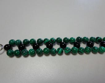 Malachite and Black Agate Bracelet