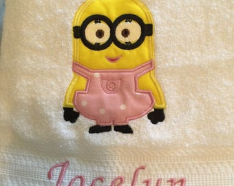 Personalized towel, Personalized bath towel, Character towel, Personal beach towel, Personal character towel, Embroidered towel, Minions