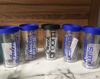 Personalized Wedding Party Tervis Style Tumbler, BPA Free Acrylic Tumbler, Personalized Tumbler, Name & Wedding, Bridal Party GIft, Wedding