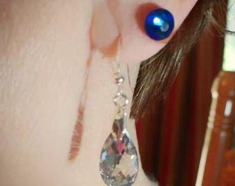 Swarovski Crystal Sterling Silver Post Earrings