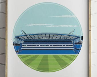 Chelsea fc, Stamford Bridge Illustrated Print, Soccer, Football Gifts, Gift for Men, Boyfriend Gifts, Soccer Gift, Football Print