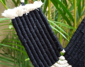 Textile Statement Necklace / Long Woven Cotton Necklace / Tribal Statement Necklace / Black Textile Necklace