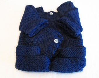 Navy Blue Baby Sweater Set  with Sail Boat Buttons