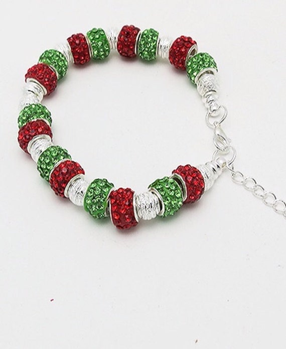 Holiday BRACELET with GLaSS Crystal Beads  **FREE SHIPPING**