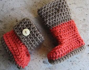 Crochet baby booties/ coral baby booties / brown crochet booties