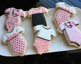 1 Dozen Girly Onesies Decorated Sugar Cookies