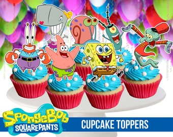 8 Spongebob Squarepants Cupcake Toppers, Printable, Spongebob Party, 2,3 inches tall, Instant Download, Children Party
