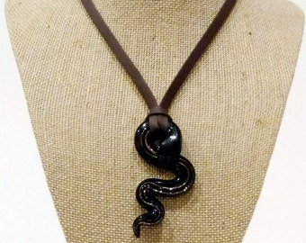 Brown glass snake necklace