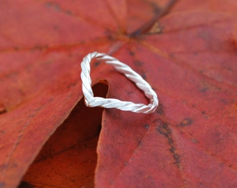Sterling Silver Twist Midi Ring Chevron Ring  3/4 ring 925 Silver Upper finger Ring Delicate Ring Stacking Ring