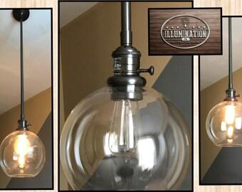 "Industrial Lighting: PB Bronze Metal Pendant Pole Light Kit w/ 8"" Clear Glass Globe (Adjust up to 5 ft.; on/off Bronze Socket & Bulb Incl.)"