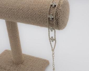 Silver  and Rhinestone Crosses Bracelet