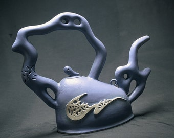 "Ceramic Artwork ""Foggy Midnight"" Teapot"
