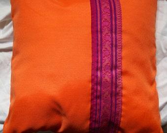 Garland series 3: cushion, 40x40cm (16 x 16), vintage silk sari and mixes, fuchsia, tissue sari border orange.