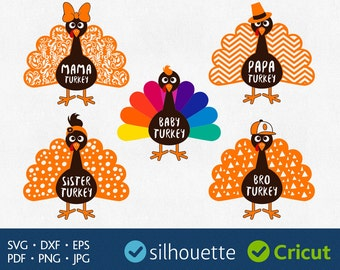 Turkey svg files download Bird clipart for Silhouette dxf eps pdf cuttables Family Shirt designs Mama Brother Sister Papa Cricut Iron on HTV