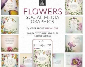 Flowers Social Media Graphics, Feminine designs for social media, Floral Instagram Quotes,  Blog Graphics, Instagram Images, Spring flowers
