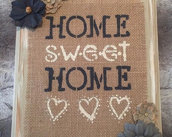 Home Sweet Home Wooden Burlap Sign, Wooden Sign, Burlap Sign, Burlap, Rustic Home Decor, Rustic Plaque, Distressed Wood, Paper Flowers