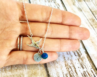 Bird and Initial Necklace, Teacher's Gift, Personalized Jewelry, Bridesmaid Necklace, Initial Necklace, Dainty Necklace, Bird Jewelry