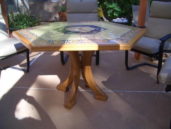 Items similar to Hexagon Patio Table Ceramic Furniture