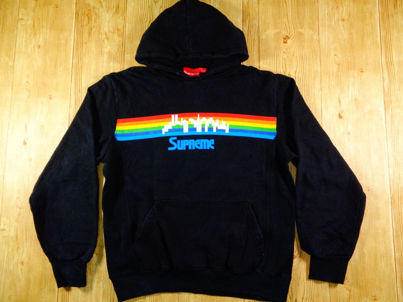 20 vintage supreme rainbow city nyc hoodie made in
