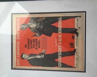 Framed Vintage Gunfight at the O.K. Corral ad